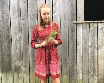 Vintage girls Dress Toddler girls dress Long sleeve floral dress Girls clothing Size 140