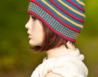 Hand knitted hat, cap, double brim, indigo color with colored pleats red, yellow, for girls, for women, woolen hat, winter hat