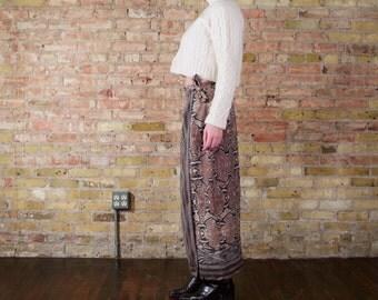 unbroken vintage 90s python print maxi skirt / wrap silk skirt / maxi silk skirt / snake print skirt / long silk skirt