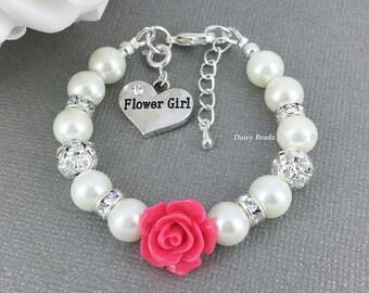 Ivory Pearl Bracelet, Flower Girl Gift, Flower Girls Bracelet, Hot Pink Flower Bracelet, Flower Girl Jewelry, Wedding