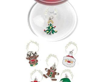 Christmas Wine Charms, Holiday Wine Charms, Christmas Glass Tags, Christmas Glass Markers, Wine Glass Charms, Christmas Gifts, Holiday Gifts