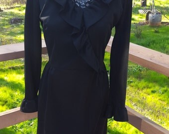 Vintage 1960's Black Ruffled Polyester