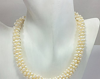 CHUNKY Pearl Necklace, Unique Hand Knit, Bridal Freshwater Ivory, White Pearl, Exclusive Beaded Crochet by FestiJe