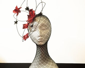 Ruby Red Wired Forest Flower with Leather and Beaded Detail Fascinator