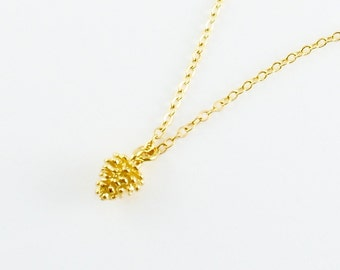 Tiny Golden Pinecone Necklace, Woodland Nature Pendant