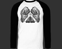Screen Printed Canine Skull, Moth and Tooth Pointillism Unisex Raglan Baseball Tee