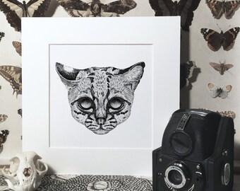 Ocelot Pointillism Fine Art Giclée Print