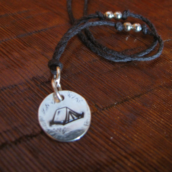 Camping! Sterling Silver and Natural Hemp Pendant Necklace Camping Tent Hiking Outdoors Handmade- Toniraecreations