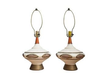 Pair Mid Century Ceramic Genie Lamps with Wood Necks