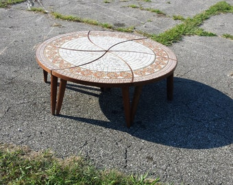 Mid century tile mosaic coffee table