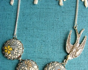 Pale grey, mustard yellow and orange Liberty Print Fabric button and Silver swallow bird necklace