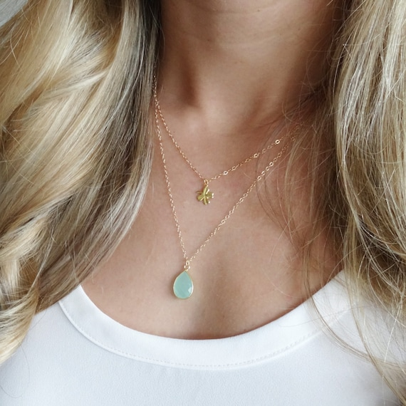 SALE Gold Four Leaf Clover & Turquoise Layer Necklace