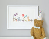 Animals on Parade, Nursery Art Picture, Giclée Print, baby's bedroom Illustration, New baby, Children's decor, Can be personalised with name