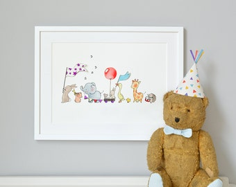 Animals on Parade, UNFRAMED Nursery Art Picture, Giclée Print, baby's bedroom Illustration, Children's decor, Can be personalised with name