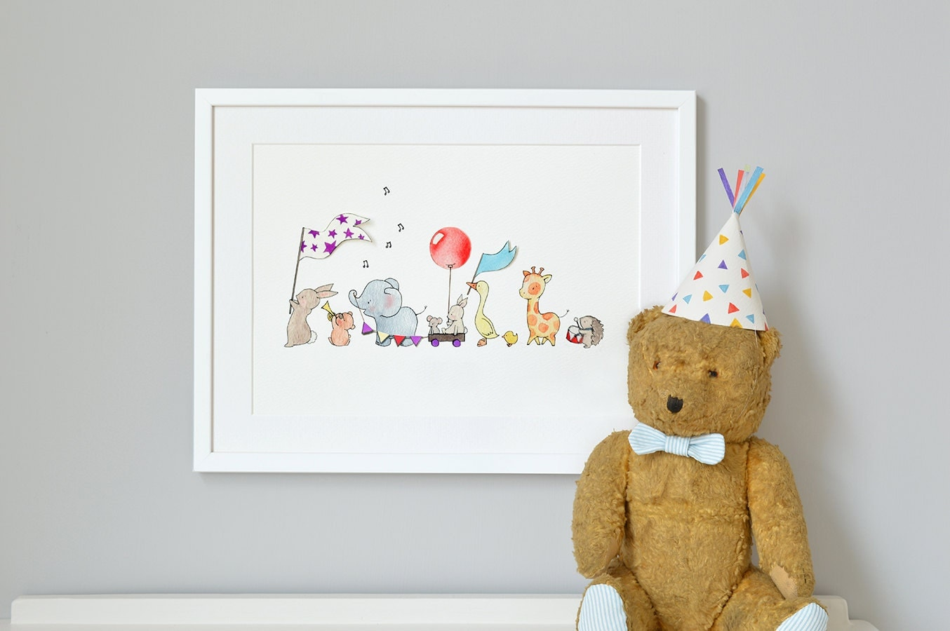 Animals On Parade Unframed Nursery Art Picture Gicl E Print