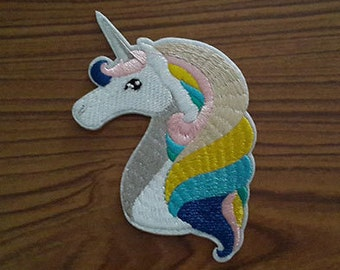 Unicorn Iron on patch - Unicorn Head Applique Embroidered Iron on Patch