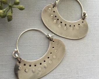 Artisan Earrings, Sterling Silver, Tribal, Hoops, Metalsmith Jewelry, Handmade Hoop Earrings, Crescent Blade, Wearable Art