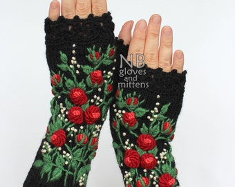 Knitted Fingerless Gloves, Roses, Black, Red, Ivory Small Dots, Long,Accessories,Gloves & Mittens