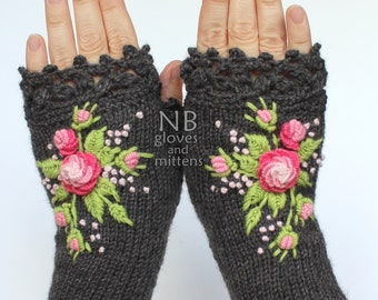 Knitted Fingerless Gloves, Dark Grey, Rose, Pink, Green, Roses, Gloves & Mittens, Gift Ideas, For Her, Winter Accessories
