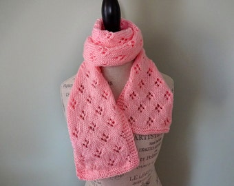 Coral Quatrefoil Patterned Scarf, Hand Knit Women's Scarf, Fashion Scarf, Gift for Mom, Gift for Teacher, Spring Scarf, Light Scarf