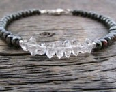 april birthstone bracelet, herkimer diamond bracelet, crystal quartz bracelet, crystal bracelet, chakra bracelet, herkimer diamond jewelry
