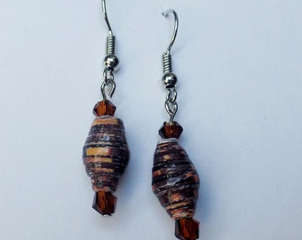 Paper bead earrings Recycled materials