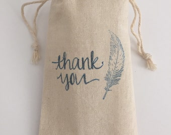 Feather Thank You 3x5 Muslin Wedding Favor Bags, Set of 10