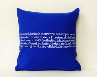 Typo pillow Hamburg  40 x40  zipper blue white