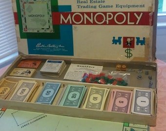 1961 Monopoly Board Game, Parker Brothers
