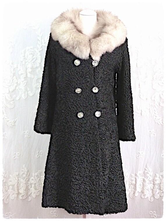 Black ASTRAKAN FUR COAT, rabbit collar