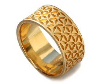 14k yellow gold band, wide band, men's wedding band, flower of life , floral motif, patterned gold band, handcrafted thick wedding band
