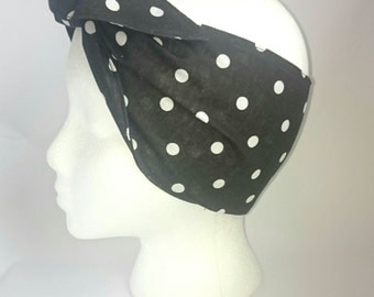 Hattie's Bad Hair Days Retro Black & White Poker Dot Headscarf 'On A Budget' Poly/Cotton *** SALE***