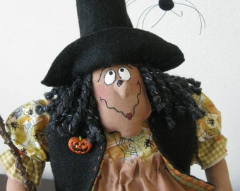 Gertie the Halloween Good Witch with Black Cat, Spider and Broom - Handcrafted - Primitively Made To Delight All - Halloween Decor