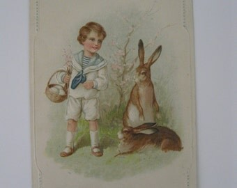 Easter Vintage Post Card - A Joyous Easter - Boy with Bunnies - Germany - Used - 1910s