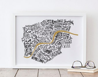 A4 London print - London map - London poster - London Art