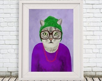 Cat Print, Cat painting portrait painting Giclee Print Acrylic Painting Illustration Print wall art wall cat deco, print of a cat