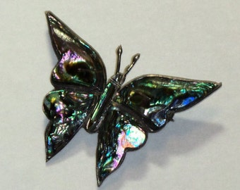 Vintage Butterfly Sterling With Abalone Brooch Mexican Made in Mexico Bell Eagle 112