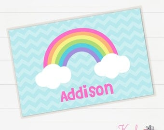 Personalized Rainbow Placemat - Children's Placemat - Kid Table - Girls Placemat
