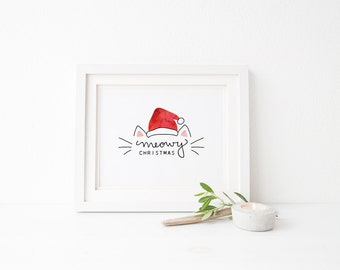 Meowy Christmas Print - Hand Lettered 8x10 Printable - Cat Lover Holiday Print - Hand Lettered