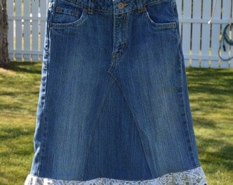 Refashioned Girl's sz. 14 Denim Skirt w/ Camo & Lace Trim
