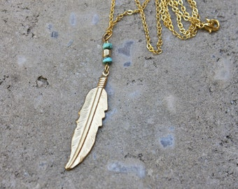 Feather Necklace // 16K Gold // Minimal Necklace // Layering Necklace // Tribal Necklace // Turquoise Necklace