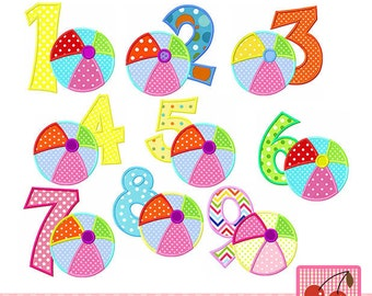 Beach ball Numbers set, Birthday Numbers Machine Embroidery Applique Design  - 4x4 5x5 6x6""