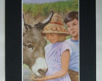 1960s Vintage John Berry Print of Peter and Jane, vintage Ladybird book, available framed, Donkey Art, Seaside illustration, Summer Vacation