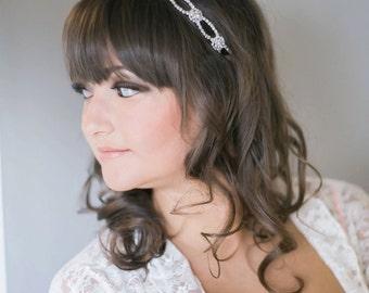 Hair Pieces for Wedding - Silver Wedding Headband - Bridal Headband - Prom - Tie Back Headband - Wedding Accessory - Bridal Headpiece