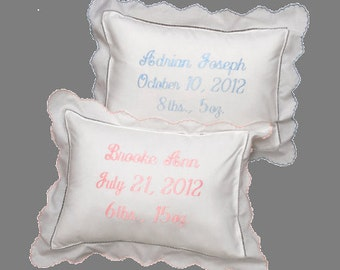 Personalized Custom Embroidered Baby Pillow