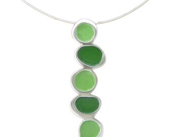 Green Necklace - Vitreous Enamel and Sterling Silver in Pea Green and Dark Green