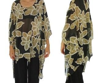 HO300ZT1 tunic blouse chiffon Gr. 44 46 48 50 52 54 black/beige
