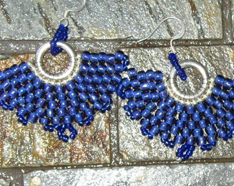 Cobalt Blue and Silver Seedbead Earrings