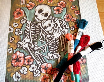 Needlepoint Day of the Dead Stamped Canvas Pattern Romantic Dia de los Muertos stitching supply sewing craft tapestry art DIY