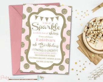 Pink and Gold Birthday Invitation, Pink and Gold Invitation, Pink and Gold Birthday, Pink and Gold Party, Blush and Gold Birthday, Glitter